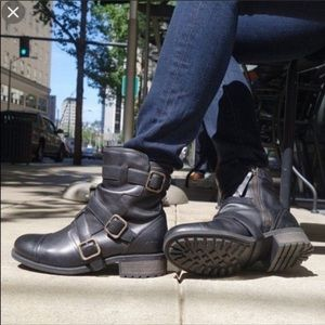 UGG Finnely Black Leather Moto Boots